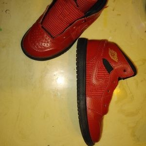 Jordan Shoes - Red leather Jordans size 11C.